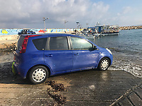 "Pictured: The Nissan Note car involved in the hit and run which killed Robert ""Charlie"" Birch in Pafos, Cyprus. <br /> Re: A man charged with the murder of Welsh holidaymaker Robert Birch, who is known as Charlie, has appeared in court in Cyprus.<br /> 39-year-old Charlie Birch, was killed in a hit-and-run crash, on the Peyia-Ayios Georghios road in Paphos in the early hours of the morning. Another man, aged 32, was injured.<br /> Under Cypriot law, the defendant can not be identified."
