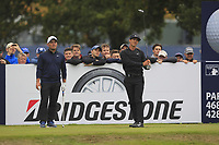 Thorbjorn Olesen (DEN) and Francesco Molinari (ITA) on the 13th tee during Round 1of the Sky Sports British Masters at Walton Heath Golf Club in Tadworth, Surrey, England on Thursday 11th Oct 2018.<br /> Picture:  Thos Caffrey | Golffile<br /> <br /> All photo usage must carry mandatory copyright credit (© Golffile | Thos Caffrey)