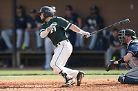 Designated hitter Toran Shahidi (15) of the University of South Carolina Upstate Spartans bats in a game against the Pittsburgh Panthers on Saturday, February 24, 2018, at Cleveland S. Harley Park in Spartanburg, South Carolina. Pittsburgh won, 3-1. (Tom Priddy/Four Seam Images)