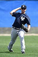 New York Yankees Chris Breen (43) during practice before a minor league spring training game against the Toronto Blue Jays on March 24, 2015 at the Englebert Complex in Dunedin, Florida.  (Mike Janes/Four Seam Images)