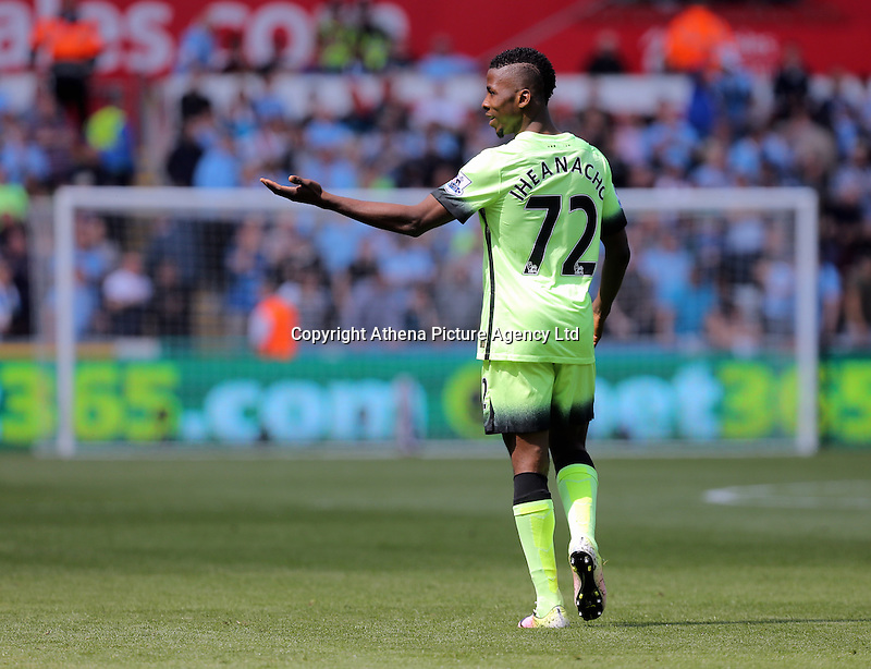 Kelechi Iheanacho of Manchester City wonders for a moment whether his goal stood during the Swansea City FC v Manchester City Premier League game at the Liberty Stadium, Swansea, Wales, UK, Sunday 15 May 2016