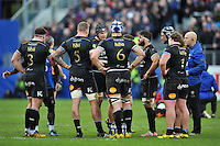 Charlie Ewels of Bath Rugby speaks with his team-mates during a break in play. European Rugby Champions Cup match, between Bath Rugby and RC Toulon on January 23, 2016 at the Recreation Ground in Bath, England. Photo by: Patrick Khachfe / Onside Images