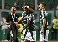 PALMIRA - COLOMBIA, 31-03-2019: Juan Camilo Angulo, Darwin Andrade y Agustin Palavecino del Cali celebran después del partido por la fecha 12 de la Liga Águila I 2019 entre Deportivo Cali y Cúcuta Deportivo jugado en el estadio Deportivo Cali de la ciudad de Palmira. / Juan Camilo Angulo, Darwin Andrade and Agustin Palavecino of Cali celebrate after match for the date 12 as part Aguila League I 2019 between Deportivo Cali and Cucuta Deportivo played at Deportivo Cali stadium in Palmira city.  Photo: VizzorImage / Gabriel Aponte / Staff