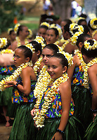 Chilldren (Keiki) hula dancers in yellow plumeria leis and  ti-leaf skirts