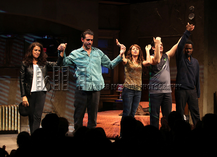 Annabella Sciorra , Bobby Cannavale, Elizabeth Rodriguez, Yul Vazquez & Chris Rock during The Broadway Opening Night Performance Curtain Call for 'The Mother F**ker with the Hat'  in New York City.