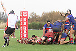 Referee Antony Petrie awards the Damon Leasuasua try. Counties Manukau Premier Club Rugby game between Karaka and Ardmore Marist, played at the Karaka Sports Park on Saturday April 21st 2008. Ardmore Marist won the game 29 - 7 after being 7 all at halftime.<br /> Karaka 7 -Kalione Hala try, Juan Benadie conversion.<br /> Ardmore Marist South Auckland Motors (Counties Power Cup Holders) 29 - Sione Tuipulotu, Bryan Mulitalo, Damon Leasuasu, Joseph Ikenasio tries, Latiume Fosita 3 conversions, Latiume Fosita penalties.<br /> Photo by Richard Spranger