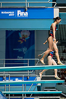 KIM Nami, MOON Nayun KOR<br /> Diving <br /> Women's 3m Synchro Springboard Preliminary<br /> Day 04 17/07/2017 <br /> XVII FINA World Championships Aquatics<br /> Duna Arena Budapest Hungary July 15th - 30th 2017 <br /> Photo @A.Masini/Deepbluemedia/Insidefoto