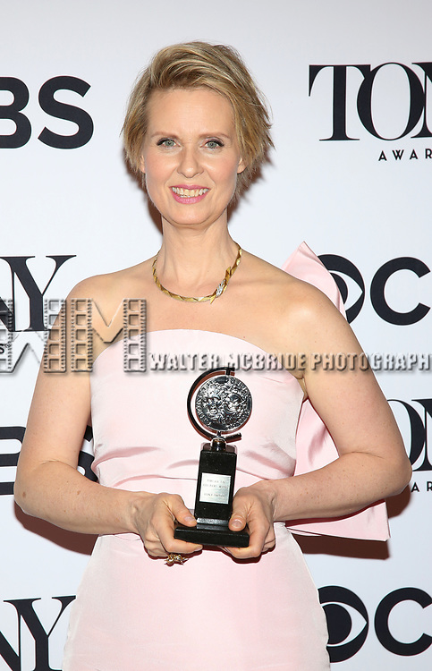 Cynthia Nixon poses at the 71st Annual Tony Awards, in the press room at Radio City Music Hall on June 11, 2017 in New York City.