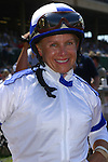 Julie Krone is all smiles after winning the August 24, 2003 Breeders Cup at the Del Mar Thoroughbred Club aboard Candy Ride, owned by Sid and Jenny Craig of Rancho Sante Fe. . Julie A. Krone (b. July 24, 1963, Benton Harbor, Michigan), is an American jockey. In 1993, she became the first female jockey to win a Triple Crown race when she captured the Belmont Stakes aboard Colonial Affair. In 2000 she became the first female jockey inducted into the National Museum of Racing and Hall of Fame. Julie Krone retired for the first time on April 18, 1999 as the only woman thus far to win a Triple Crown race. After coming out of retirement in 2002[1], she also was the first woman jockey to win a Breeders' Cup race when she rode Halfbridled to victory in the 2003 Breeders' Cup Juvenile Fillies. On December 12, 2003, just weeks after her Breeders' Cup win, she broke several ribs and suffered severe muscle tears in a fall at Hollywood Park Racetrack. Though not fully recovered from her injuries, Krone attempted to come back on February 11, 2004, also at Hollywood, but failed to win in three races.[2] She did not ride again; on July 8 of that year, she made a statement in which she did not officially retire, but strongly hinted that she would never race again. (wikipedia)