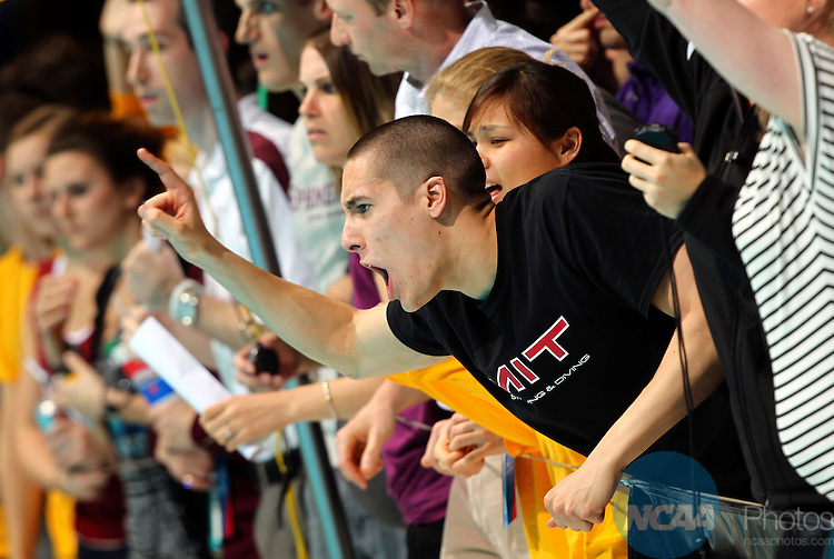 24 MAR 2012:  A member of the MIT team yells during the 1650 yard freestyle event during the Division III Mens and Womens Swimming and Diving Championship held at the IU Natatorium in Indianapolis, IN.  Michael Hickey/NCAA Photos