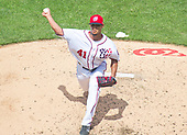 Washington Nationals starting pitcher Joe Ross (41) pitches in the third inning against the New York Mets at Nationals Park in Washington, D.C. on Sunday, April 30, 2017.  The Nationals won the game 23 - 5.<br /> Credit: Ron Sachs / CNP
