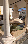 Historic public water supply from fountain in street square of former Jewish area, the Judiara, Castelo de Vide, Alto Alentejo, Portugal, southern Europe