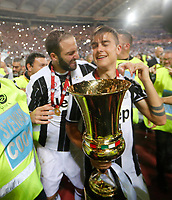Gonzalo Higuain and Paulo Dyabala  celebrate after win the Italian Cup Final  football match against Lazio  at  the Olympic stadium in Rome, Italy on the 17th May 2017