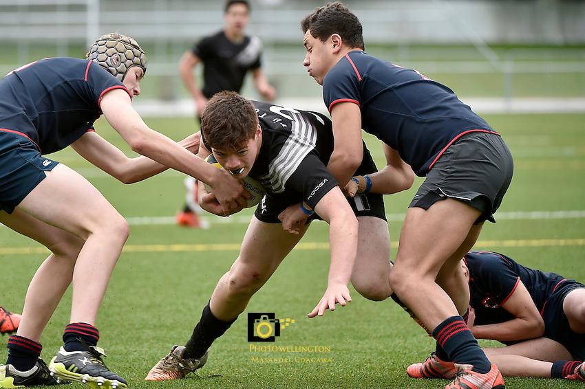 Action from the  Hurricanes U15 Rugby Tournament - Feliding High v Tu Toa College  at Maidstone Park, Upper Hutt, New Zealand on Wednesday 2 September 2015.<br /> Photo by Masanori Udagawa. www.photowellington.photoshelter.com.