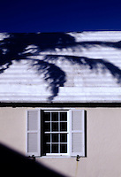 Palm tree shadow on carribean house.