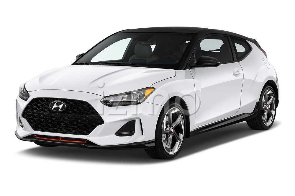 2019 Hyundai Veloster Turbo Ultimate 5 Door Hatchback angular front stock photos of front three quarter view