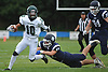 Justin Zotto #10 of Lindenhurst, left, breaks a tackle on a punt return during a Suffolk County Division I varsity football game against Northport at Glenn High School on Saturday, Sept. 2, 2017.