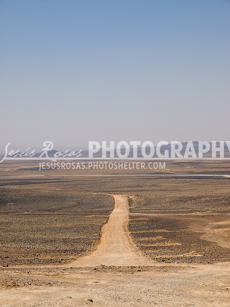 Road to nowhere in the dessert of Mafraq governorate in Jordan