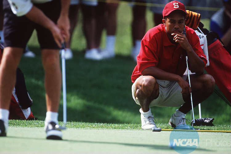 Caption: 1 JUN 1996: Stanford's Tiger Woods watches as his closest competition, Arizona's Rory Sabbatini, taps a put at the Division 1 Men's Golf Championship at the University of Tennessee at Chatanooga Honors Course. Woods defeated second place Sabbatini by 4 strokes. Patrick Murphy-Racey/NCAA Photos