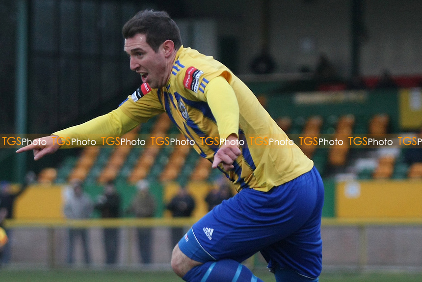 Nick Reynolds opens the scoring for Romford and celebrates- Romford vs Ware - Ryman League Division One North Football at Ship Lane, Thurrock FC - 12/01/13 - MANDATORY CREDIT: George Phillipou/TGSPHOTO - Self billing applies where appropriate - 0845 094 6026 - contact@tgsphoto.co.uk - NO UNPAID USE.