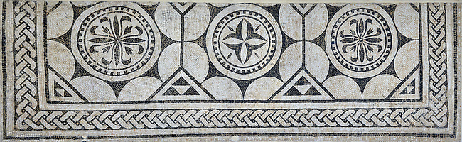 Picture of a black and white geometric Roman mosaics , from the ancient Roman city of Thysdrus. 3rd century AD. El Djem Archaeological Museum, El Djem, Tunisia.