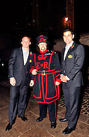 PICTURE BY SIMON WILKINSON/SWPIX.COM...Rugby League - Gillette 4 Nations 2011 - Rugby League International Federation International Player of the Year Awards 2011 - Tower of London, London, England - 02/11/11…Australia Captain Darren Lockyer and teammate Cameron Smith pictured with a Yoeman Warder at the Tower of London.