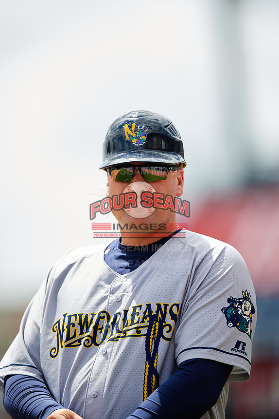New Orleans Baby Cakes hitting coach Kevin Witt (44) during a game against the Nashville Sounds on May 1, 2017 at First Tennessee Park in Nashville, Tennessee.  Nashville defeated New Orleans 6-4.  (Mike Janes/Four Seam Images)