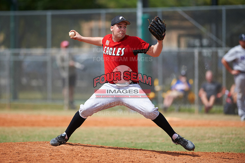 Edgewood College Eagles pitcher Elijah Roche (45) delivers a pitch during a game against the New York University Violets on March 14, 2017 at Terry Park in Fort Myers, Florida.  NYU defeated Edgewood 12-7.  (Mike Janes/Four Seam Images)