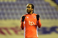 Blackpool's Nathan Delfouneso celebrates at the end of the match<br /> <br /> Photographer Richard Martin-Roberts/CameraSport<br /> <br /> The EFL Sky Bet League One - Wigan Athletic v Blackpool - Tuesday 13th February 2018 - DW Stadium - Wigan<br /> <br /> World Copyright &not;&copy; 2018 CameraSport. All rights reserved. 43 Linden Ave. Countesthorpe. Leicester. England. LE8 5PG - Tel: +44 (0) 116 277 4147 - admin@camerasport.com - www.camerasport.com