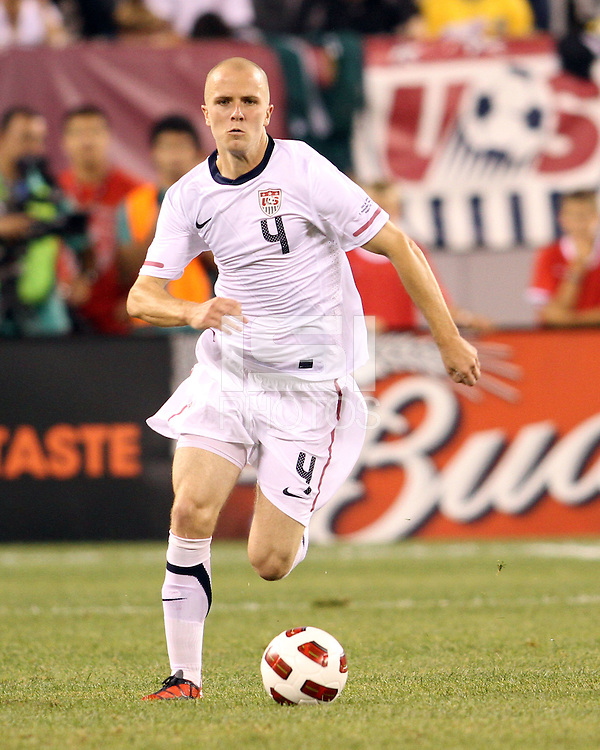 Michael Bradley #4 of the USA during an international friendly match against Brazil in Giants Stadium, on August 10 2010, in East Rutherford, New Jersey.Brazil won 2-0.