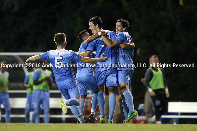 16 September 2016: North Carolina's Walker Hume (37) celebrates his goal with twin brother Tucker Hume (right), Cam Lindley (5) and Nico Melo. The University of North Carolina Tar Heels hosted the University of Pittsburgh Panthers in Chapel Hill, North Carolina in a 2016 NCAA Division I Men's Soccer match. UNC won the game 1-0.