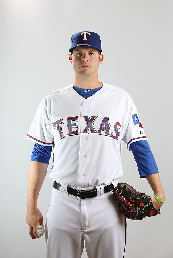 Feb. 20, 2013; Surprise, AZ, USA: Texas Rangers pitcher Jake Brigham poses for a portrait during photo day at Surprise Stadium. Mandatory Credit: Mark J. Rebilas-