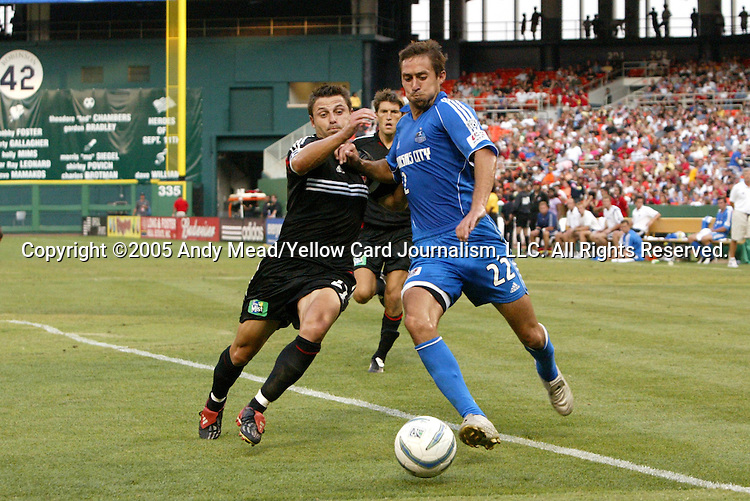9 July 2005: Dema Kovalenko (l) challenges Davy Arnaud (22). The Kansas City Wizards defeated DC United 1-0 at RFK Stadium in Washington, DC in a regular season Major League Soccer game. .