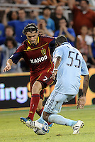 Fabian Espindola Real Salt Lake forward Julio Cesar (55) Sporting KC defender... Sporting Kansas City defeated Real Salt Lake 2-0 at LIVESTRONG Sporting Park, Kansas City, Kansas.