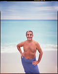 Photo Andrew Kaufman-November 1997. For NEWSWEEK. Eddie is a swinger. He's married but his wife never comes to Florida with him where he owns a condo. He spends the winters in North Miami Beach and summers in Buffalo, New York. Here Eddie is posing at a nudist beach called Haulover Beach. .