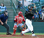 SIOUX FALLS, SD - JUNE 5 - Brandon Jones #22 from the Sioux Falls Canaries watches a fly ball against Winnipeg in the third inning Thursday night at the Sioux Falls Stadium. (Photo by Dave Eggen/Inertia)