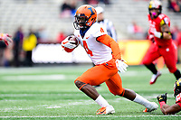 College Park, MD - OCT 27, 2018: Illinois Fighting Illini wide receiver Ricky Smalling (4) runs the football during game between Maryland and Illinois at Capital One Field at Maryland Stadium in College Park, MD. The Terrapins defeated Illinois to move to 5-3 on the season. (Photo by Phil Peters/Media Images International)