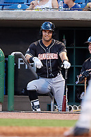 Jupiter Hammerheads second baseman Riley Mahan (2) in the dugout during a game against the Clearwater Threshers on April 9, 2018 at Spectrum Field in Clearwater, Florida.  Jupiter defeated Clearwater 9-4.  (Mike Janes/Four Seam Images)