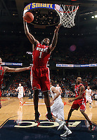 North Carolina State forward Richard Howell (1) grabs a rebound during the game against Virginia Saturday in Charlottesville, VA. Virginia defeated NC State 58-55.