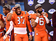 Charlotte, NC - DEC 2, 2017: Clemson Tigers tight end D.J. Greenlee (87) and Clemson Tigers linebacker Dorian O'Daniel (6) celebrate on stage after winning the ACC Championship game over Miami 38-3 at Bank of America Stadium Charlotte, North Carolina. (Photo by Phil Peters/Media Images International)