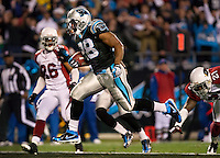 Carolina Panthers running back Jonathan Stewart (28) runs into the endzone against the Arizona Cardinals during the NFC Divisional Playoff football game at Bank of America Stadium, in Charlotte, NC. Arizona defeated the Carolina Panthers 33-13.