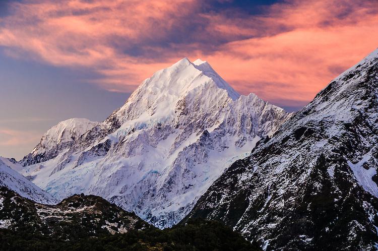 Aoraki / Mt Cook at sunset, South Canterbury, New Zealand - stock photo, canvas, fine art print
