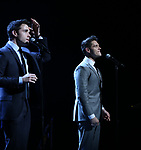 Corey Cott and Casey Cott performing at the Dramatists Guild Foundation toast to Stephen Schwartz with a 70th Birthday Celebration Concert at The Hudson Theatre on April 23, 2018 in New York City.