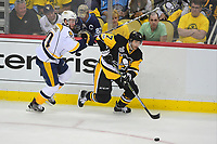 May 29, 2017: Pittsburgh Penguins center Matt Cullen (7) wins the battle for the puck during game one of the National Hockey League Stanley Cup Finals between the Nashville Predators  and the Pittsburgh Penguins, held at PPG Paints Arena, in Pittsburgh, PA.   Eric Canha/CSM