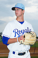 Foster Griffin (55) of the Burlington Royals poses for a photo prior to the game against the Princeton Rays at Burlington Athletic Park on July 9, 2014 in Burlington, North Carolina.  The Rays defeated the Royals 3-0.  (Brian Westerholt/Four Seam Images)