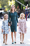 Princess Sofia of Spain (l), Princess Leonor of Spain (r) and Queen Letizia of Spain attend Spain's National Day Military Parade. October 12 ,2014. (ALTERPHOTOS/Pool)