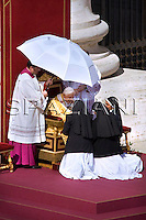Pope Benedict XVI celebrates an open-air canonization ceremony of Sister Alphonsa of the Immaculate Conception, Gaetano Errico, Sister Maria Bernarda and Narcisa de Jesus Martillo Moran in St. Peter's square at the Vatican, ..Oct. 12, 2008...                                            .