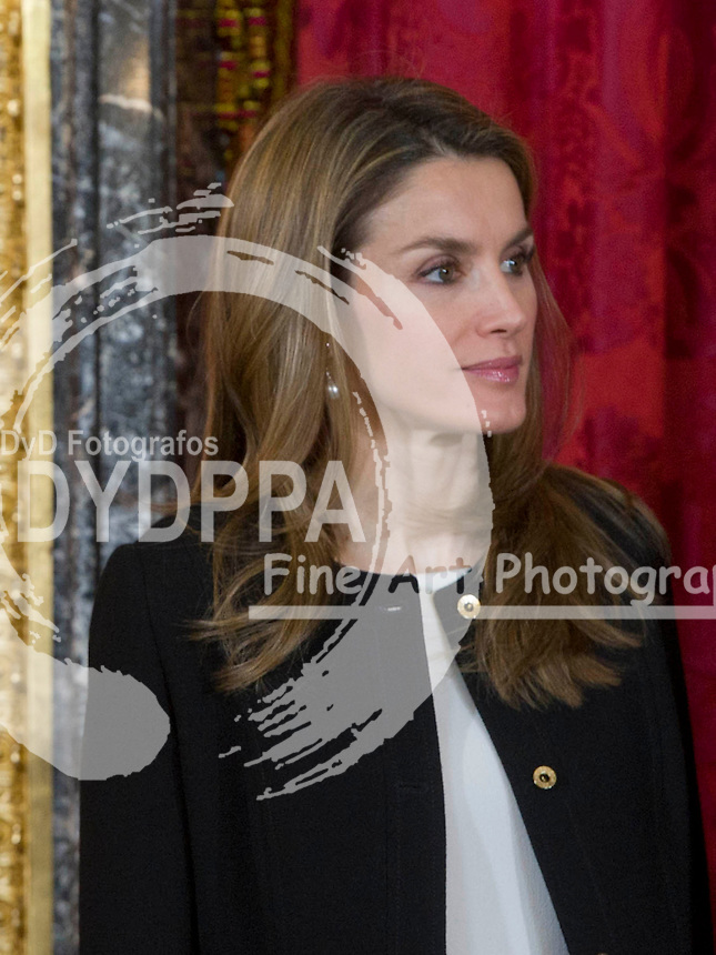 POOL 13/02/2013. Real Palace. Madrid. Spain. The kings of Spain, Juan Carlos and Sofia, and the Prince of Asturias, Felipe and Letizia Ortiz, offer a lunch in honor of President of the Republic of Guatemala and his wife Rosa Leal. (c) Eduardo Dieguez/Contacto / POOL