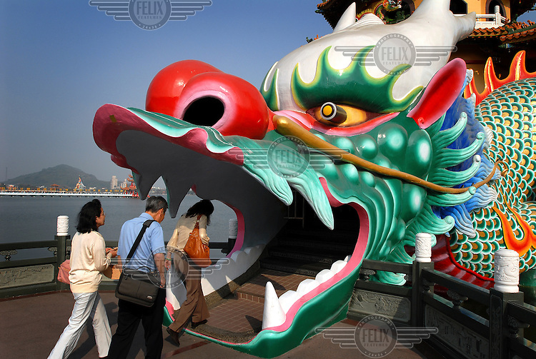 The mouth of the Dragon at the elaborate Dragon-Tiger Pavilion temple complex at the Lotus Pond, a popular recreational area for the residents of Kaohsiung.