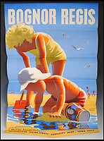 BNPS.co.uk (01202 558833)<br /> Pic:   LindsayBurns&Co/BNPS<br /> <br /> Poster advertising Bognor Regis, West Sussex.<br /> <br /> A collection of stylish vintage railway posters which celebrate the golden age of the seaside package holiday have been unearthed during a house clearance.<br /> <br /> The colourful 1950s posters were discovered under a pile of knick-knacks at the back of a cupboard in a deceased elderly couple's flat in Perthshire, east Scotland.<br /> <br /> They include a racy image of a lady in a bikini promoting the resort of Mablethorpe, Lincs, and a sweet picture of a mother playing with her young child on the beach at Bognor Regis, West Sussex.<br /> <br /> In total, eight posters produced by British Railways will go under the hammer with auction house Lindsay Burns & Co of Perth, where they are expected to fetch £1,000.